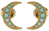 Andrea Fohrman Mini Crescent Moon Studs with Turquoise