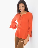 Chico's Lace-up Flare-Sleeve Top