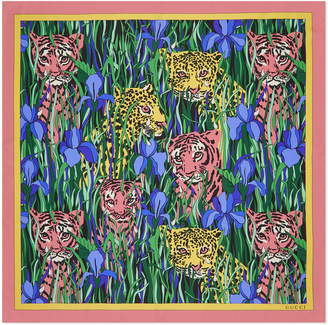 Gucci Feline Garden Print Square Silk Scarf