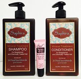 Saphira Mineral Treatment Shampoo 13.5 oz and Mineral Treatment Conditioner 13.5 oz With 26 Dead Sea Minerals Pure KeratinFree Starry Sexy Kiss Lip Plumping 10 Ml