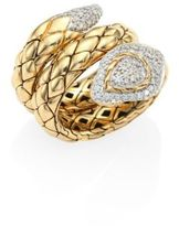 John Hardy Legends Cobra Diamond & 18K Yellow Gold Ring