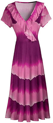 Lily Women's Maxi Dresses PLM - Plum & Pink Abstract Stripe Ruffle-Trim Surplice Maxi Dress - Women & Plus