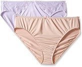 Ellen Tracy Women's 2 Pack Microfiber Hi Cut Brief with Lace Panty