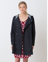 Somewhere Woman's pure cotton denim hooded coat, HONURA