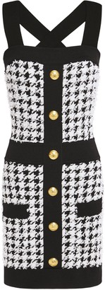 Balmain Button-embellished Houndstooth Boucle-tweed Mini Dress