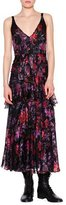 Etro Sleeveless Floral-Print Tiered Midi Dress, Purple/Red/Black