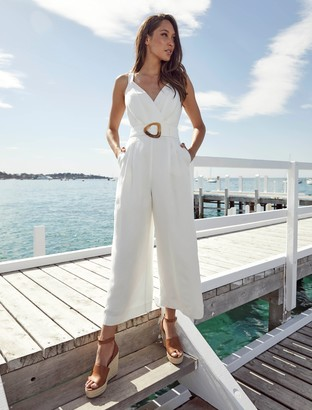 Ever New Kira Belted Linen-Blend Jumpsuit