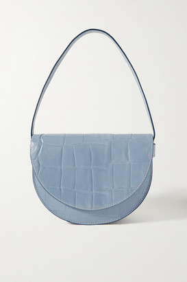 STAUD Amal Croc-effect Leather Shoulder Bag - Light blue