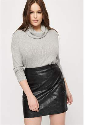 Dynamite Soft Turtleneck Sweater Light Gray Mix