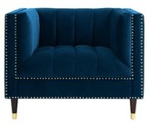Nicole Miller Bahara Club Chair Upholstery Color: Navy Blue/Gold