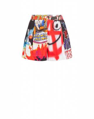 Moschino Patchwork Print Jersey Shorts Woman Multicoloured Size 38 It - (4 Us)