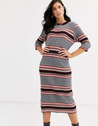 French Connection stripe knited midi dress-Multi