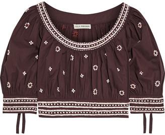 Ulla Johnson Zola Cropped Embellished Cotton-poplin Top