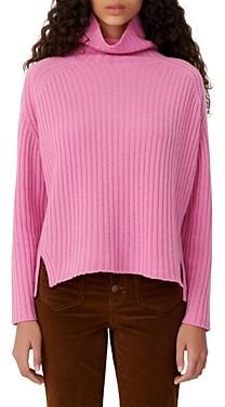 Maje Madinette Ribbed Knit Turtleneck Cashmere Sweater