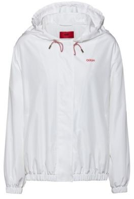 HUGO BOSS Relaxed Fit Hooded Jacket With Reversed Logo Print - White