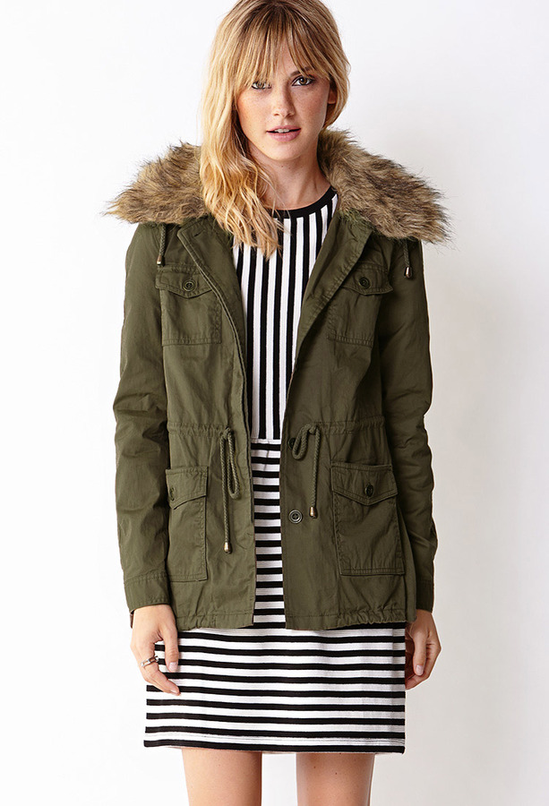 Forever 21 Faux Fur Collar Utility Jacket