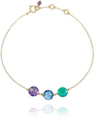 Perle de Lune Trio Pastille Bracelet With Amethyst, Green Agate, Blue Topaz