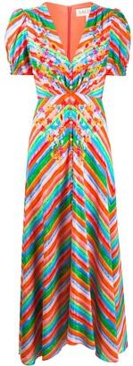 Saloni Floral Striped Midi Dress