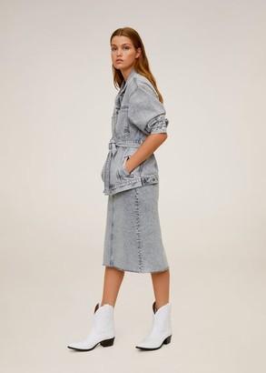 MANGO Faded denim skirt denim grey - S - Women