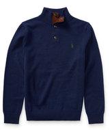 Ralph Lauren Suede-Trim Wool Sweater
