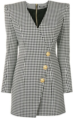 Balmain Dogtooth Wrap Dress