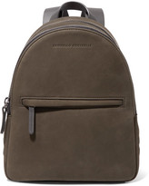 Brunello Cucinelli Leather-trimmed Studded Suede Backpack - Army green