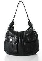 Linea Pelle Black Leather Perforated Medium Hobo Handbag