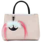 Fendi 'Petite 2Jours' Bicolor Leather Shopper With Genuine Fox & Kidassia Fur Monster Charm - Grey
