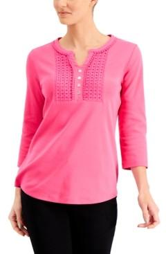 Karen Scott Cotton Crochet-Trim Henley Top, Created for Macy's