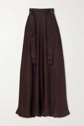 BITE Studios - + Net Sustain Belted Satin Maxi Skirt - Anthracite