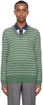Gucci Green and White Alpaca Sweater