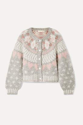 LoveShackFancy Jamie Fair Isle Knitted Cardigan - Light gray