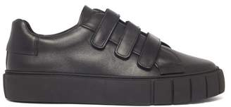 Primury - Scratch Velcro Strap Leather Trainers - Mens - Black
