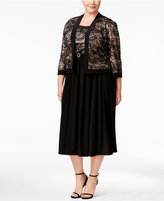 R & M Richards Plus Size Belted Lace Dress and Jacket