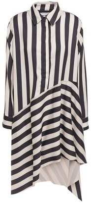 Marques Almeida Marques' Almeida Asymmetric Striped Satin-crepe Mini Shirt Dress