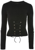 Topshop Eyelet Splice Knitted Top