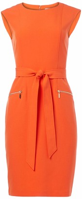 Kasper Women's Stretch Crepe Cap Sleeve Dress with TIE Belt and Zip Pockets