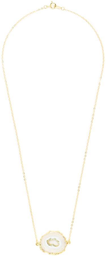 Solar Quartz Slice Pendant Necklace