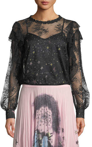 Moschino Lace Blouse with Printed Camisole