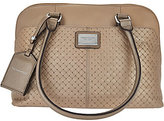 Tignanello Pebble Leather Woven Embossed RFID Domed Satchel