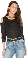 Splendid Cold Shoulder Melange Sweater in Black