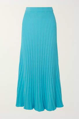 Lulu ANNA QUAN Ribbed Cotton Maxi Skirt - Azure