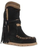 Mojo Moxy Nomad Fringe Moccasin Hidden Wedge Mid Calf Boots, Black.