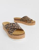 Asos Design DESIGN Transaction leather flatforms in leopard
