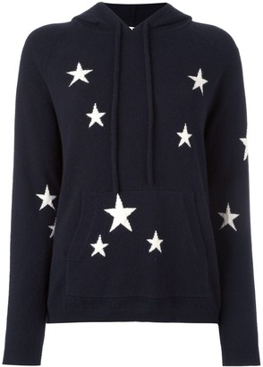 Parker Chinti & cashmere star intarsia hooded sweater