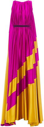 Roksanda Draped Two-tone Silk-satin Gown