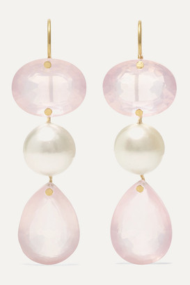Marie Helene De Taillac Catherine De Russie 20-karat Gold, Quartz And Pearl Earrings - one size