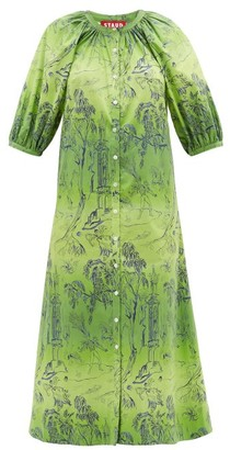 STAUD Tangier Jungle-print Cotton Tunic Dress - Womens - Green Print