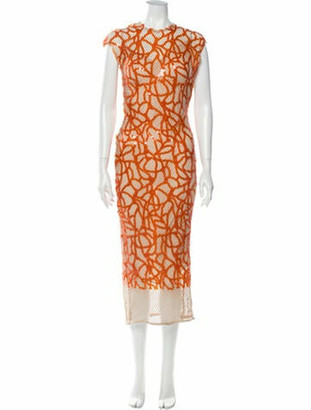 Sandra Mansour Printed Midi Length Dress Orange