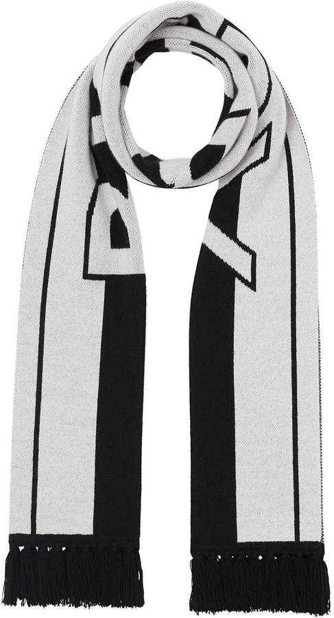 Burberry black and white logo cashmere scarf